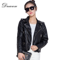Dreawse New Arrival Spring PU Leather Women Short Slim Leather Jacket Ladies Thin Turn Down Collar