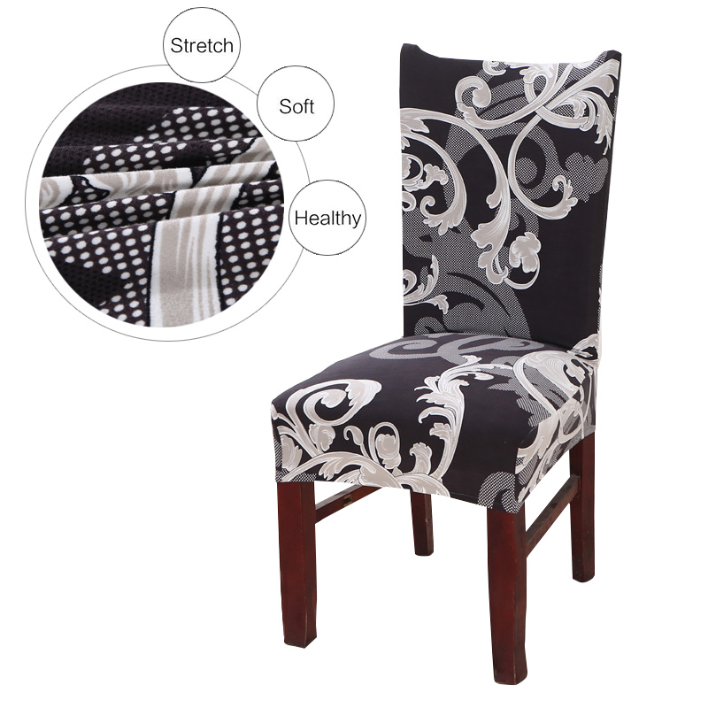 Vintage Dark Printing Dining Chair Cover Removable Elastic Banquet Folding Dining Room Chair Cover For Modern Kitchen Chair