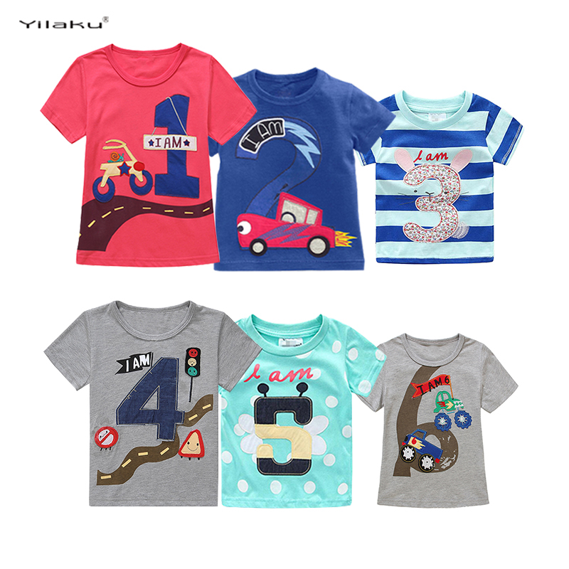 Yilaku Boys Girls Number 1-2-3-4-5-6 T-shirts Embroidered Printed T Shirt For Kids Children Short Sleeve Cotton Summer Top CG296 chic spaghetti strap solid color tank top 3 4 sleeve embroidered pleated dress twinset for women