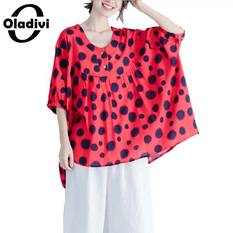 Oladivi surdimensionné grande taille femmes mode Polk Dot imprimer Blouses dames été 2019 nouvelles chemises femme tunique Blusas 3 couleurs