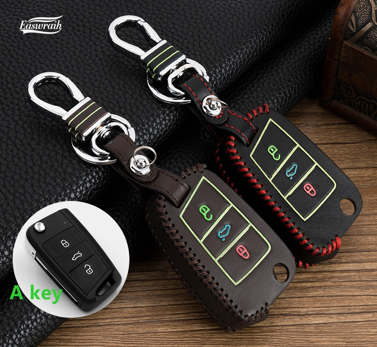 Gift Car Luminous Key Wallet Cover Case Chain For VW Polo Golf 4 5 6 mk4 mk6 Passat CC B5 B8 Golf 7 MK7 Tiguan Jetta R36 Touran