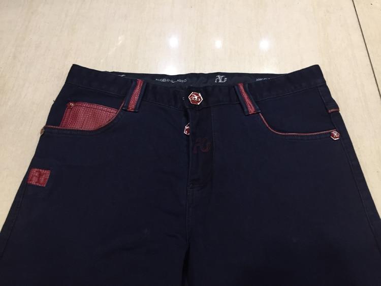 5f692b61d2d Angelo jeans hombres 2018 primavera moda confort bordado patrón patchwork  Caballero bolsillo del pantalón en Pantalones vaqueros de La ropa de los  hombres ...