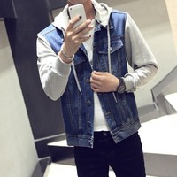 Blouson Homme New Fashion 2019 Men's Spring Autumn Denim Jackets Hooded Jeans Jacket Male Harajuku Streetwear Men Coat Plus Size