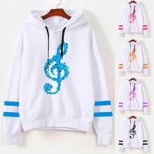 Womens Musical Notes Long Sleeve Hoodie Sweatshirt Hooded Pullover Tops Blouse Sudaderas Mujer