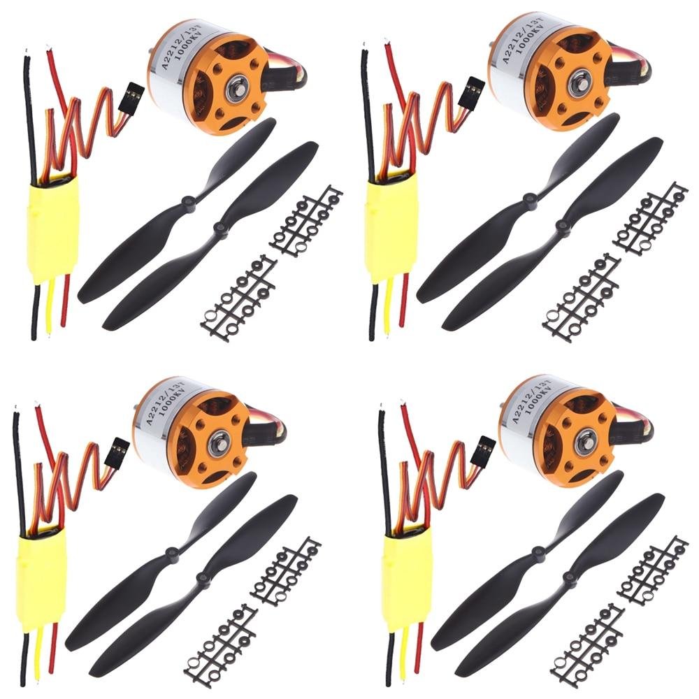 4set lot Universal RC Quadcopter Part Kit 1045 Propeller 1pair HP 30A Brushless ESC A2212 1000KV
