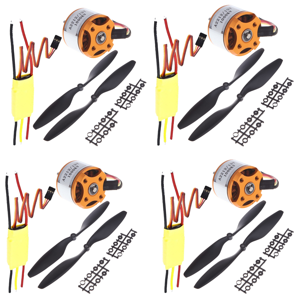 4set/lot Universal RC Quadcopter Part Kit 1045 Propeller(1pair) + HP 30A Brushless ESC + A2212 1000KV Outrunner Brushless Motor f02015 f 6 axis foldable rack rc quadcopter kit with kk v2 3 circuit board 1000kv brushless motor 10x4 7 propeller 30a esc