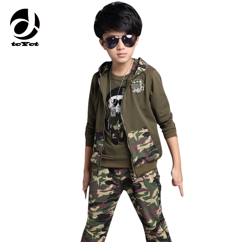 4 5 6 7 8 9 10 11 12 years Boys Autumn camouflage clothing set 3pcs for big kids Hooded Jacket T-shirt pant clothes suit