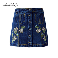 Summer Mini Jean Skirt For Womens Vintage Sexy Wrap Short High Waist Skirts Female Embroidered Floral