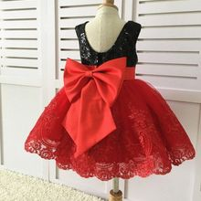 0361a6ce5 Cute baby girl lace dress with red lace appliques black sequins little kids 1st  birthday party
