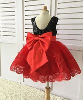 Cute baby girl lace dress with red lace appliques black sequins little kids 1st birthday party outfits with bow