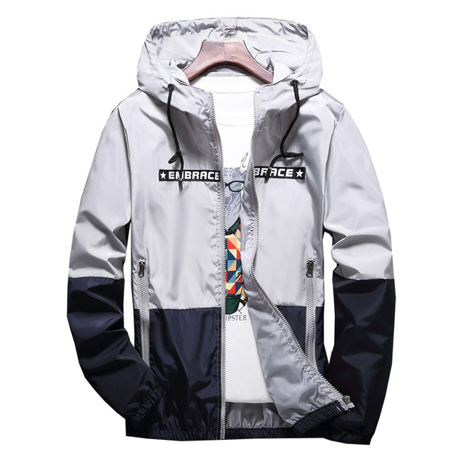 New Spring Autumn Bomber Hooded Jacket Men Casual Slim Patchwork Windbreaker Jacket Male Outwear Zipper Thin Coat Brand Clothing 3