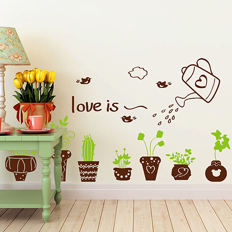 Brown Color Potting Wall Sticker PVC Material Plant Wall Decals DIY Bonsai Home Decor for Living Room Decoration stickers muraux