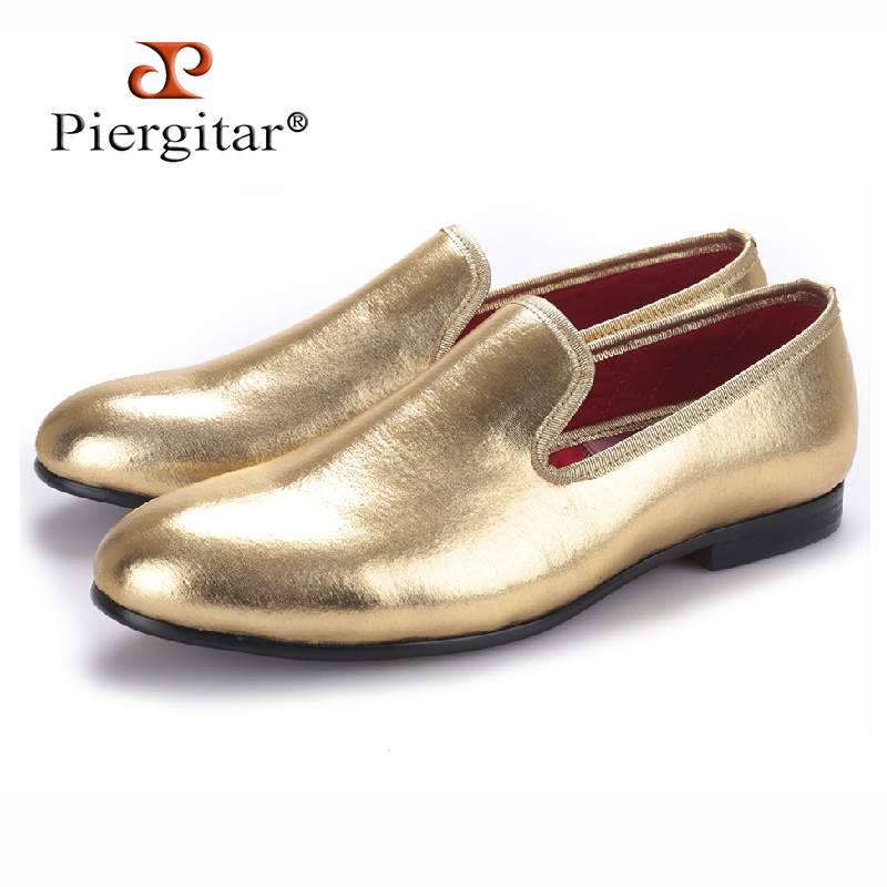Piergitar 2017 NEW Fashion Men Flats Shoes HandMade Shiny Gold and Silver party and wedding men dress loafers Big Size Mocassins new fashion gold snakeskin pattern loafers men handmade slip on leather shoes big sizes men s party and prom shoes casual flats