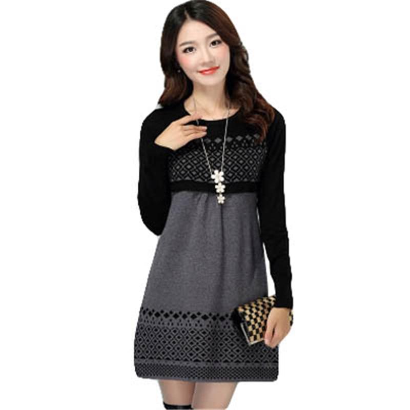 Women Autumn Winter Dress 2018 Cotton Knitted Plus Size Long-sleeve Casual Dress One-piece Warm Cotton Sweater Dress S-3XL AA242 stylish cotton long sleeves one piece dress black multicolor size m
