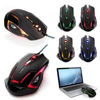 HOT 2500 DPI 6 Button Blue LED Optical USB Wired Gaming Game Mouse For E 3lue