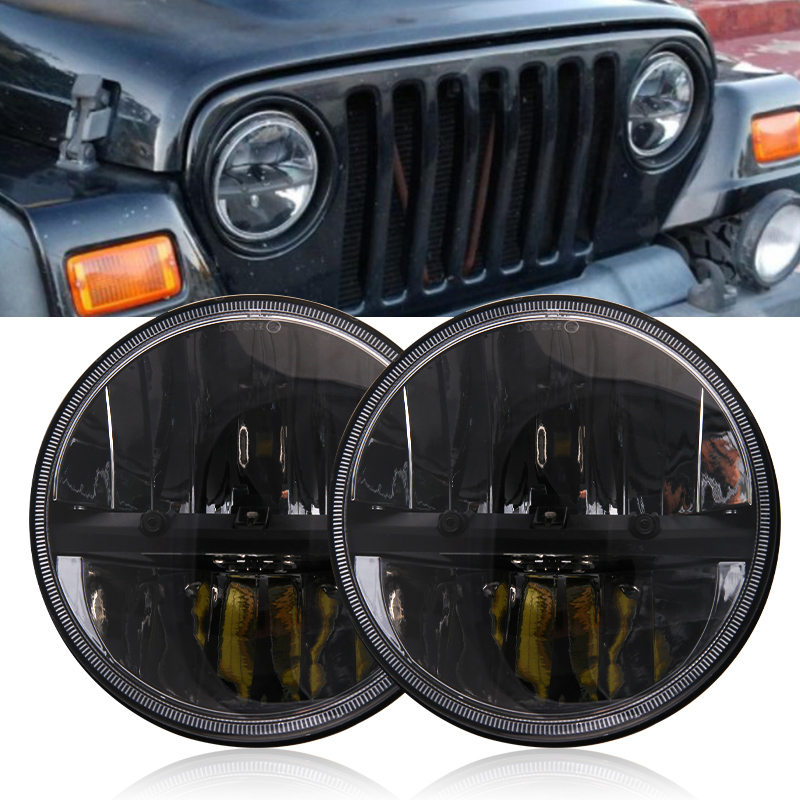 7 Inch Round LED Motorcycle Headlight Kits Conversion With For Harley Jeep Wrangler Hummer Trucks
