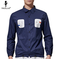 Troilus 2016 Leisure Style Men Long Sleeve Square Collar Button-Down Shirt Comfort Soft Slim Fit Oxford Pocket Print Shirts
