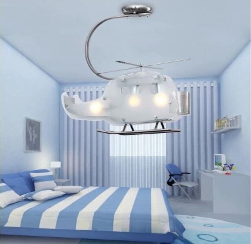 US $198.0 |Kinder spielzeug moderne Kinderzimmer led lampen jungen  schlafzimmer licht licht hubschrauber cartoon glas lampe handeln die von ...