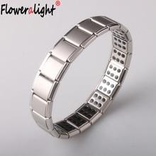 Fashion Stainless Steel Watchband Men Charm Bracelet Punk Jewelry Magnet Germanium Health Titanium Steel Bracelet Bangles