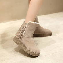 2016 New short women furry snow boots ladies fashion fringe winter warm moon boot platform creepers shoes plus size H212
