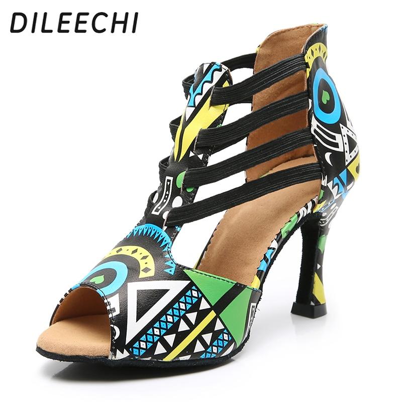 Heel:7.5cm Rhinestones Lace-up Suede Ballroom Latin Dance Shoes Modern Salsa Tango Womens Zipper Ankle Boots Sandals,Black ,37EU