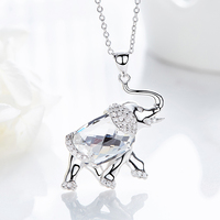 Heezen Crystal Elephant Shaped Pendant Necklace Vintage Austrian Rhinestone Sieraden Maken Statement Necklace Gifts for Women