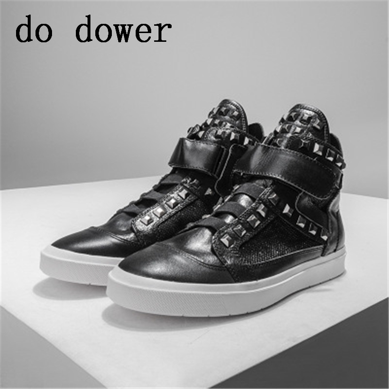 Winter Male Rivet Ankle Casual Flats Spring Sneaker Chain Lace Up Boots Men Genuine Leather Mixed Colors Trainers High Shoes
