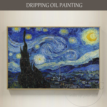 China Top Artist Hand-painted High Quality Impressionist Starry Night Oil Painting Van Gogh Oil Painting Starry Night Painting