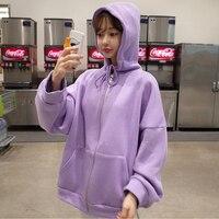 Solid Purple Hoodie Kpop Oversized Sweatershirt Zipper Jacket Hooded Coat Women Long Sleeve Tracksuit Autumn Winter Outerwear