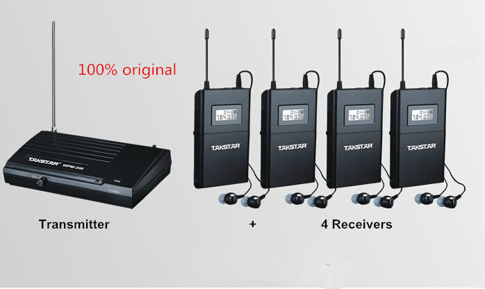 Takstar hot Wireless In Ear Stage Monitor System TAKSTAR In Ear Stage Wireless Monitor System 4 Receiver + 1 Transmitter WPM-200 wireless pager system 433 92mhz wireless restaurant table buzzer with monitor and watch receiver 3 display 42 call button