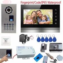 """Neue Fingerprint Schlüssel Intercom Video Türsprechanlage Kit Mit Touch-tasten Farbe 7 """"metall Lcd Home Intercom IP65 Wasserdichte Rfid Schloss"""