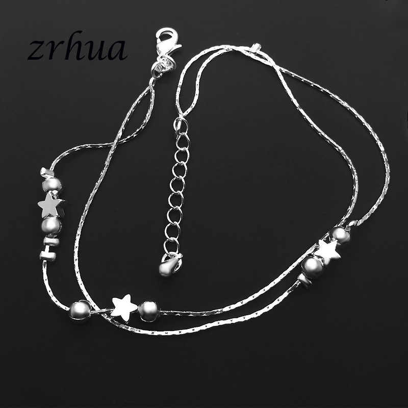 ZRHUA Tiny 925 เงินสเตอร์ลิงลูกปัด Multilayer Chain สำหรับผู้หญิงสาวเพื่อนเท้าขาสร้อยข้อมือ Bijoux