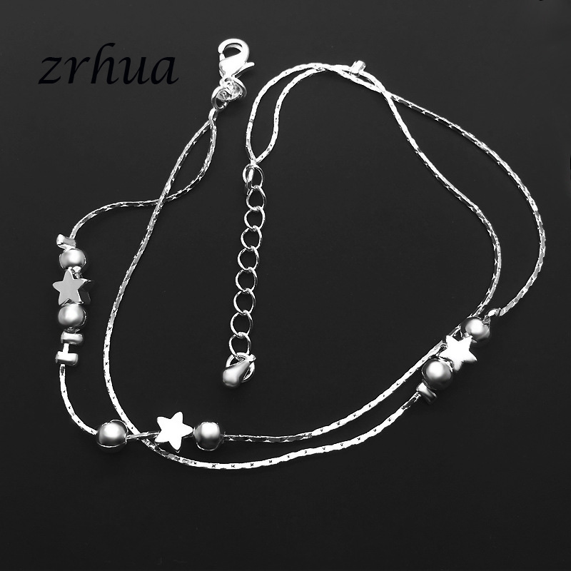 ZRHUA Tiny 925 Sterling Silver Beads Multilayer Chain Anklet for Women Girls Friend Foot Jewelry leg bracelet Bijoux 1