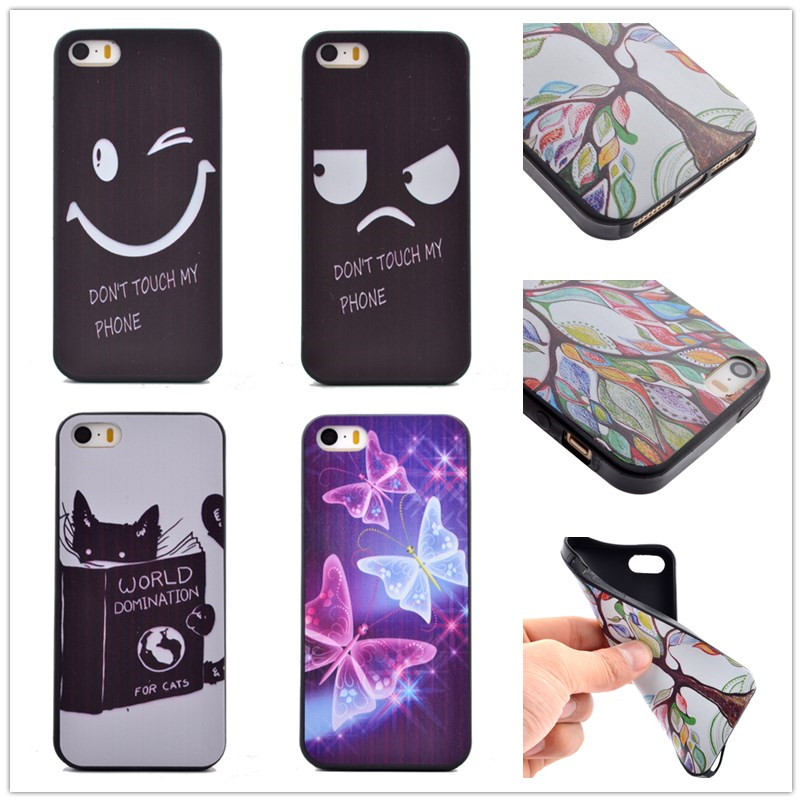 10 Pattern, Smile & Angry pattern TPU 3D print Painted Soft silicone black Back Cover For iPhone 5 5S SE Mobile Phone case Bag