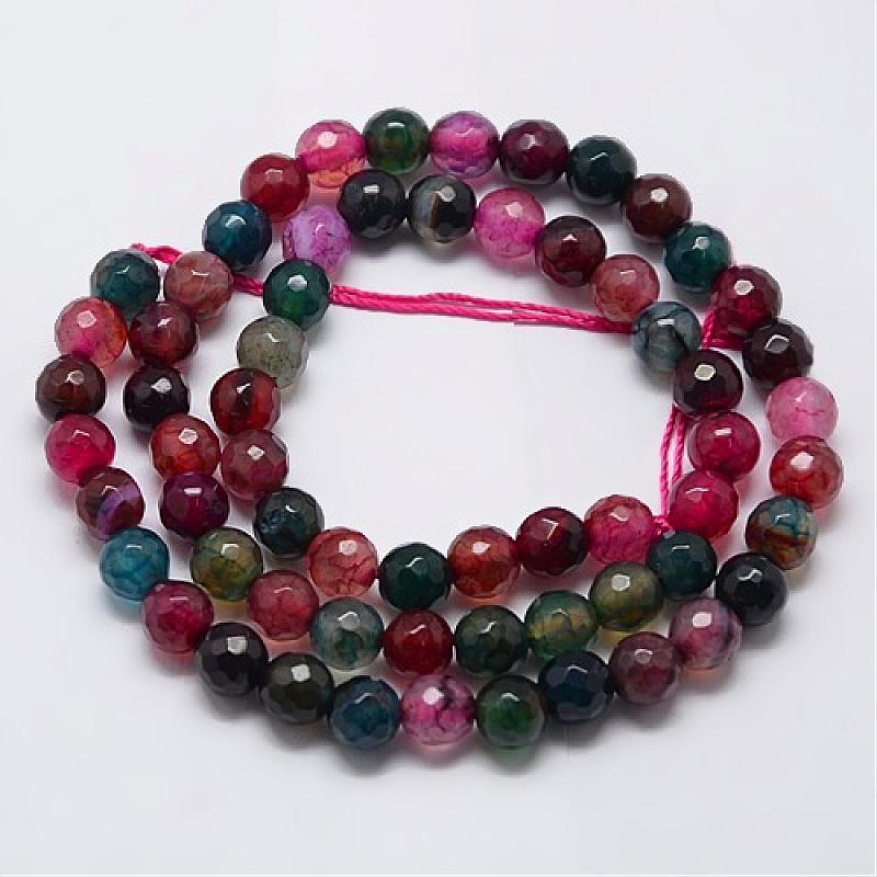Banded Agate Facettes Perles Rondes 8 mm vert 6 PCS pierres précieuses À faire soi-même Fabrication De Bijoux