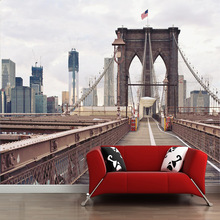 3D stereo space sense New York Manhattan bridge city view pattern mural wallpaper for living room wall decor