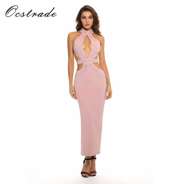 Ocstrade 2017 Runway Womens Fashion Pink Luxury Crystal Dress Sexy Long  Summer Bodycon Party Dress 9abe717c326a