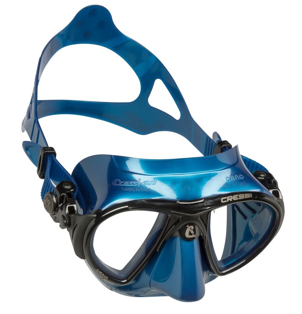 e213060c62b2 Cressi Nano Ultra Low Volume Free Diving Mask Tempered Glass 2 Window  Integrated Dual Frame Black