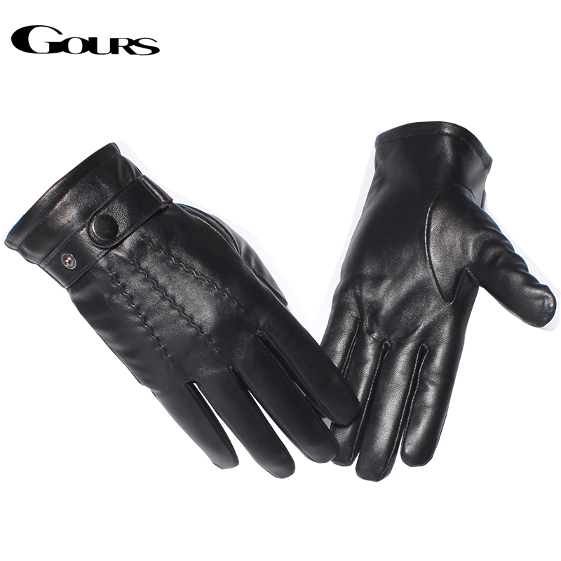 Gours Genuine Leather Gloves Men Fashion Brand Warm Winter Sheepskin Black Touch Screen Gloves Classic Button Mittens New GSM054