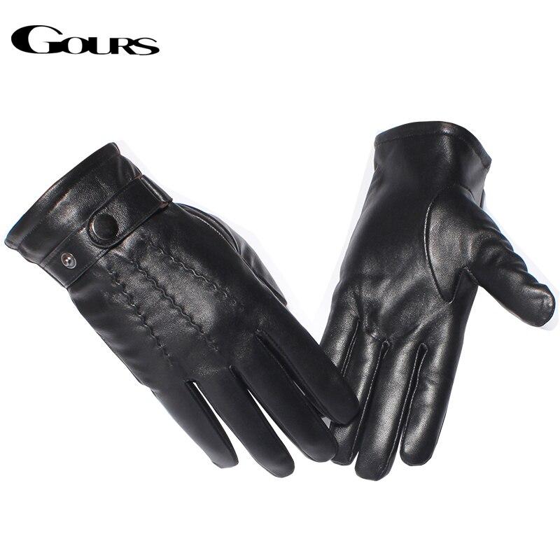 Gours Prave usnjene rokavice za moške modne blagovne znamke tople zimske ovčje črne rokavice na dotik s črnim zaslonom klasične gumbe rokavice New GSM054