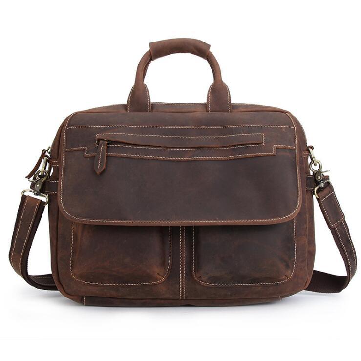 89730910dce9 Мужские Портфели сумки кожаные сумки коровьей сумка портфель из натуральной  кожи Crazy Horse чехол для ноутбука Бизнес 14013
