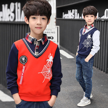 Teenage Boy Polo Shirt Children Spring Autumn Fashion Spider Print Cotton Long Sleeve Layered Tee shirt Top 4 6 8 10 12 Year Old layered trumpet sleeve botanical top