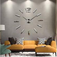 2017 new home decor big wall clock modern design living room quartz Metal  decorative designer clocks wall watch free shipping