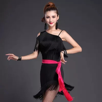 Fashion One Shoulder Tassel Latin Dance Dresses Black Woman Rumba Cha Cha Ballroom Latin Dance Skirt Latin Dancewear for Women