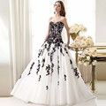 Vestido De Noiva Hot Sale White Wedding Dresses with Black Applique Sweetheart New Wedding Bridal Gowns Custom Made