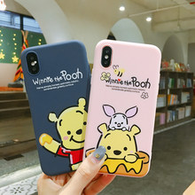 Lucu Kartun Anime Winnie The Pooh Sederhana Cover Case untuk iPhone 8 7 6 6 S Plus X XR X Max gel Silika Lembut Tpu Telepon Kembali Shell(China)