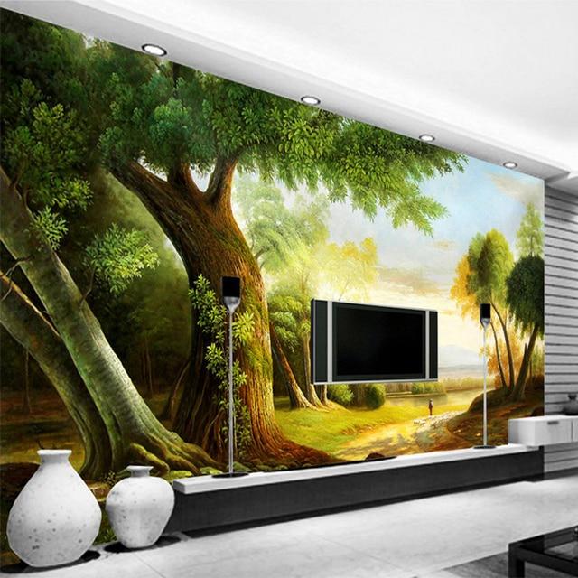 3D Vlies Tapete Grün Baum Foto Wandmalereien Klassischen Pastoralen Stil  Holz Faser Tapete Wohnzimmer Schlafzimmer Innen