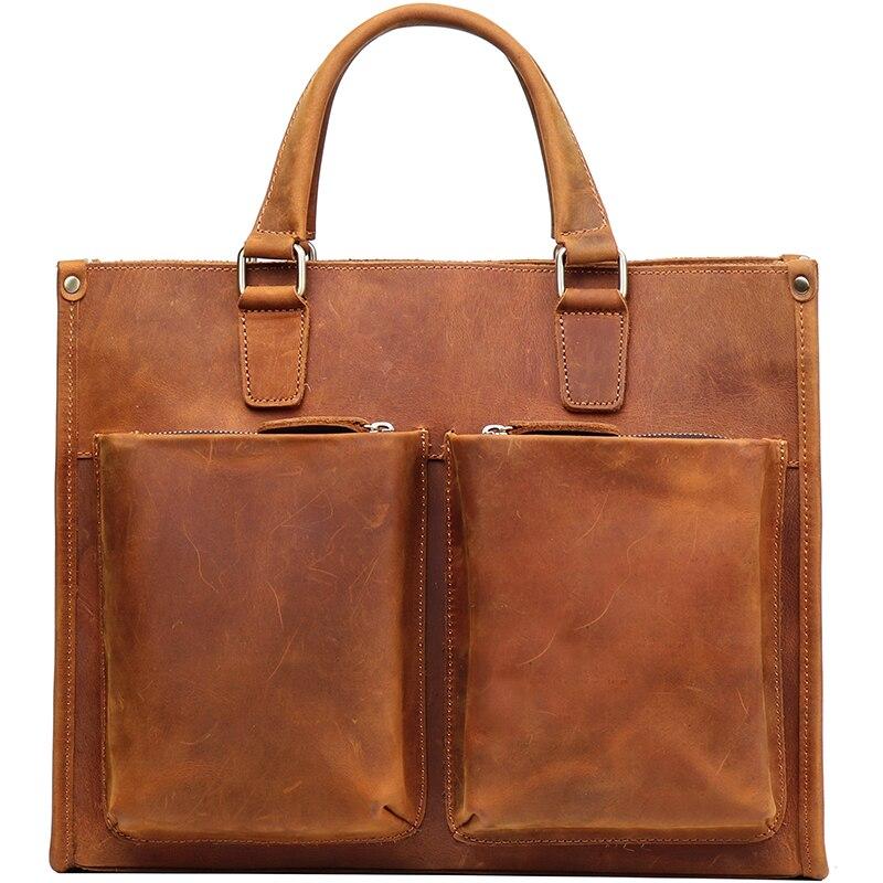 Vintage Leather Men Handbag Male Laptop Bag Briefcase Computer Shoulder Crossbody Bag Crazy Horse Leather Brown Travel Bags