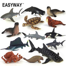 EASYWAY Sea Life Animals Action Figures PVC Plastic Shark Toy for Kids Boy Fish Collectible Figurines Model Turtle Octopus Set(China)