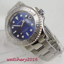 41mm Parnis Blue Dial Stainless steel Case Date window Sapphire Glass Deployment clasp Miyota Automatic Movement mens Watches